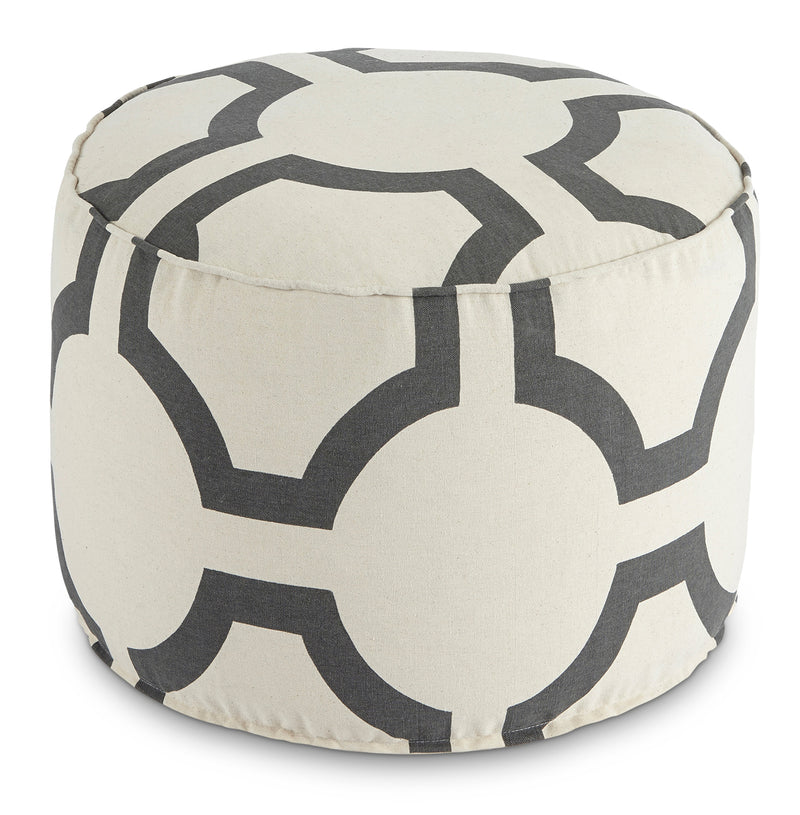 Tillie Pouf – White and Charcoal|Pouf Tillie - blanc et anthracite