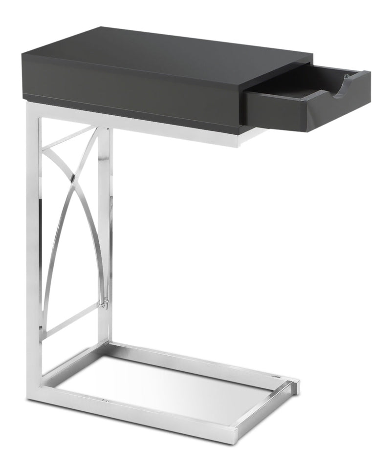 Turin Accent Table – Glossy Grey|Table d'appoint Turin - gris lustré