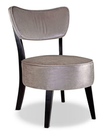 LAD Velvet-Look Fabric Armless Accent Chair – Soft Grey