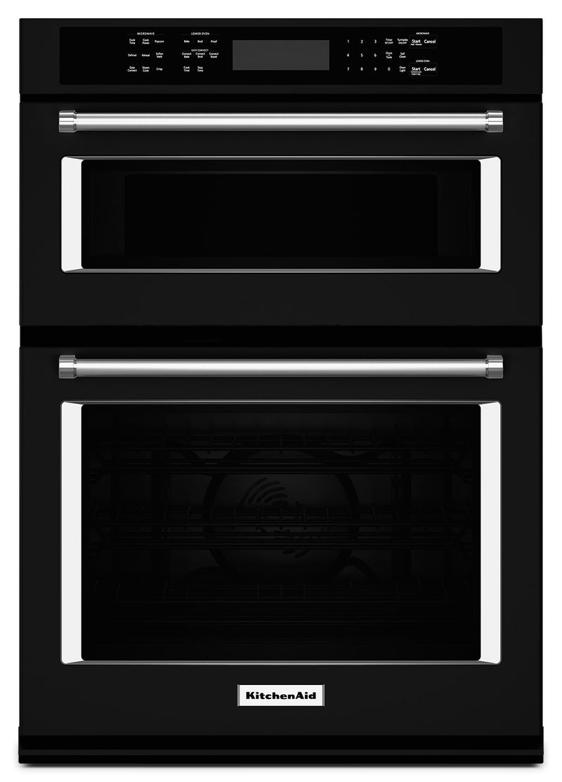 "KitchenAid 27"" Combination Wall Oven with Even-Heat™ True Convection - KOCE507EBL - Double Wall Oven in Black"