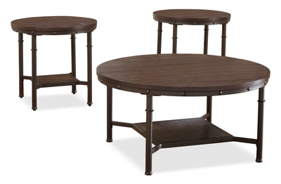 Sandling 3-Piece Coffee and Two End Tables Package - Industrial style Occasional Table Package in Dark Brown Metal and Wood