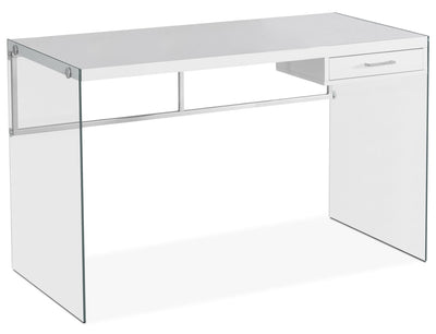 Kylie Computer Desk – White - Modern style Desk in White Glass
