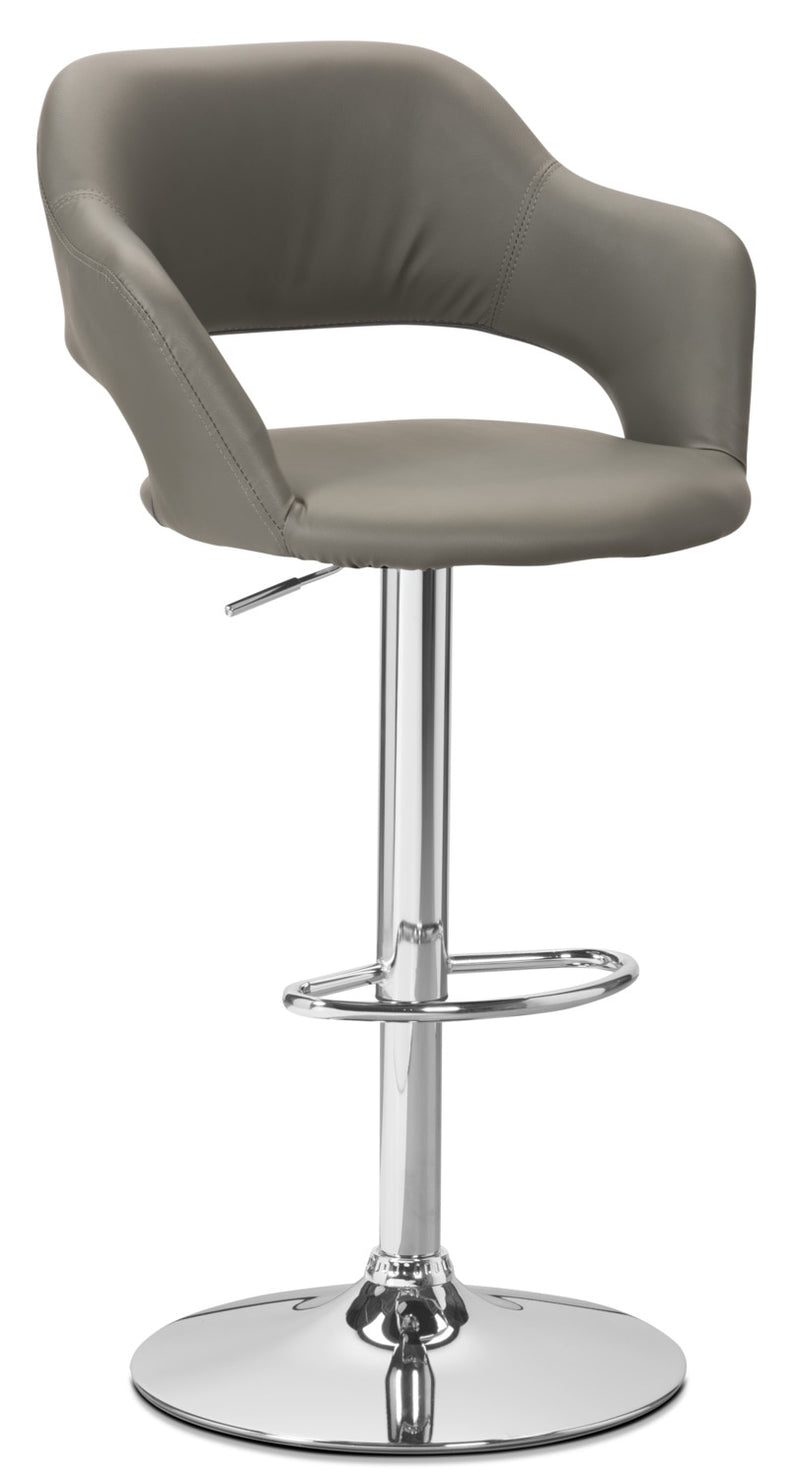 Monarch Hydraulic Contemporary Bar Stool – Grey - Modern style Bar Stool in Grey Metal and Faux Leather