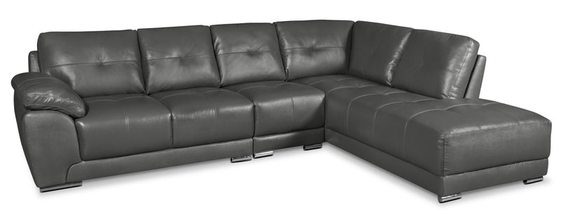 Rylee 3-Piece Genuine Leather Right-Facing Sectional - Grey|Sofa sectionnel de droite Rylee 3 pièces en cuir véritable - gris