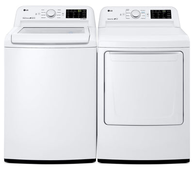 LG 5.2 Cu. Ft. Top-Load Washer and 7.3 Cu. Ft. Dryer – White - Laundry Set in White