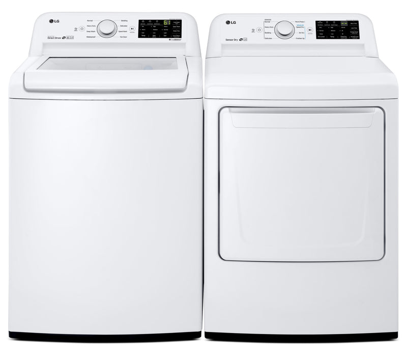 LG 5.2 Cu. Ft. Top-Load Washer and 7.3 Cu. Ft. Dryer – White|Laveuse à chargement par le haut de 5,2 pi³ et sécheuse de 7,3 pi³ de LG - blanches|LGTL7100