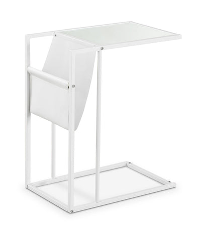 Durham Accent Table with Magazine Rack – White - Modern style End Table in White Metal and Glass