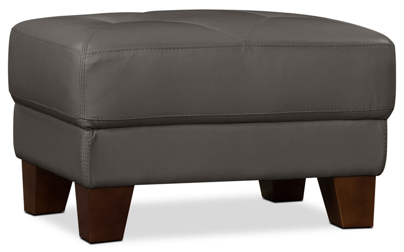 Vita 100% Genuine Leather Ottoman – Charcoal|Pouf Vita en cuir 100 % véritable - anthracite