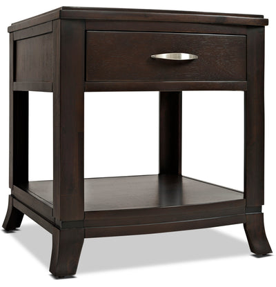 Downtown End Table - Contemporary style End Table in Dark Brown Wood