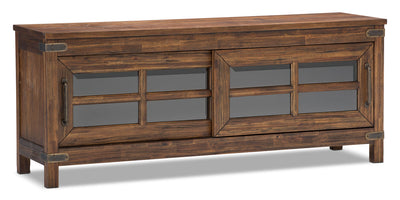 "Huntley 64"" TV Stand - Rustic style TV Stand in Dark Brown Wood"
