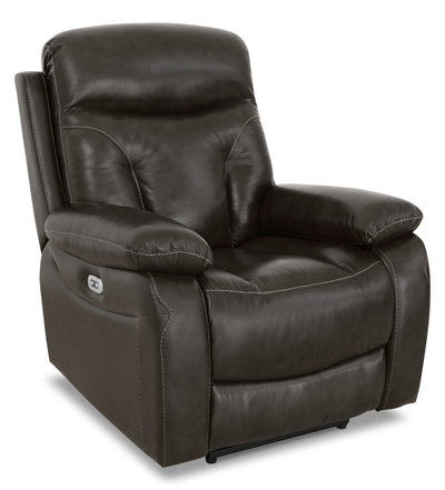 Hayes Genuine Leather Power Reclining Chair – Steel - Contemporary style Chair in Steel