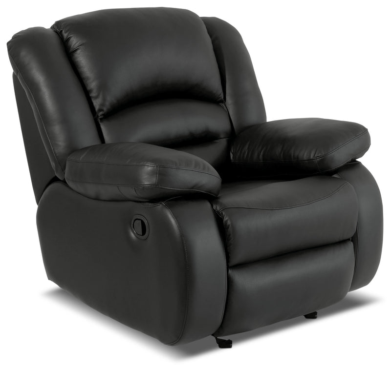 Toreno Genuine Leather Reclining Glider Chair – Black|Fauteuil inclinable coulissant Toreno en cuir véritable - noir