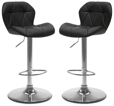 Emry Adjustable Bar Stool, Set of 2 – Black - Modern style Bar Stool in Black Metal and Faux Leather