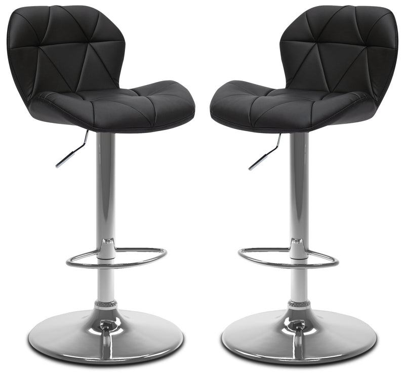 Emry Adjustable Bar Stool, Set of 2 – Black|Tabouret bar réglable Emry, ensemble de 2 - noir