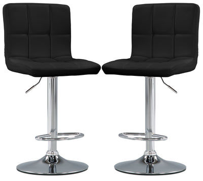 CorLiving High-Back Adjustable Bar Stool, Set of 2 – Black - Modern style Bar Stool in Black Steel and Faux Leather