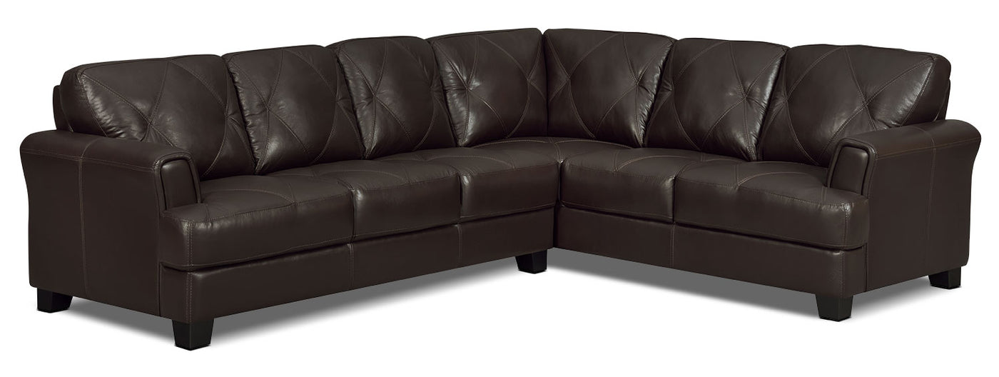2 Accent Chairs And A Tv And Sectional.Vita 2 Piece 100 Genuine Leather Right Facing Sectional Chocolate