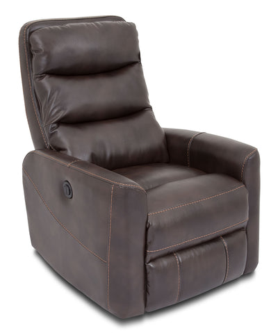 Quinn Leather-Look Fabric Power Recliner with Power Headrest with Adjustable Headrest - Brown - Modern style Chair in Brown