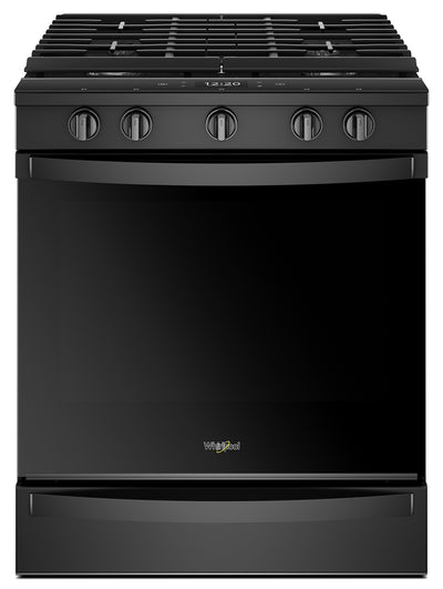 Whirlpool® 5.8 Cu. Ft. Smart Slide-in Gas Range with EZ-2-Lift™ Hinged Cast-iron Grates - WEG750H0HB - Gas Range in Black
