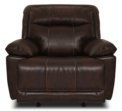 Matt Leather-Look Fabric Reclining Chair – Walnut|Fauteuil inclinable Matt en tissu apparence cuir - noyer|MATTWARC