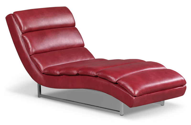 Maddy Leather-Look Fabric Chaise – Red|Fauteuil long Maddy en tissu d'apparence cuir - rouge