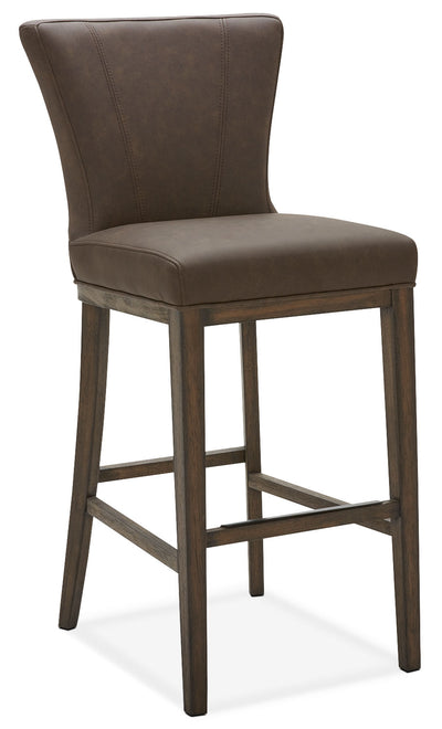 Quinn Bar Stool – Brown - Contemporary style Bar Stool in Brown Rubberwood and Bonded Leather