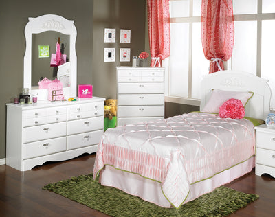 Diamond Dreams 3-Piece Twin Bedroom Package - White - Traditional style Bedroom Package in White