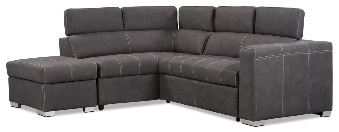 Drake 3 Piece Faux Suede Left Facing Sleeper Sectional Cement