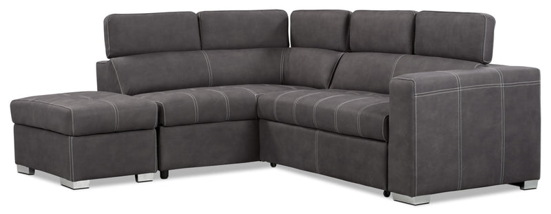 Drake 3 Piece Faux Suede Left Facing Sleeper Sectional U2013 Cement|Sofa  Sectionnel