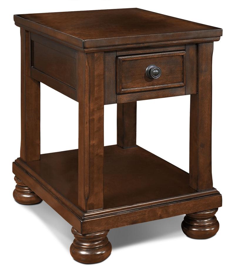 Porter End Table - Traditional style End Table in Dark Brown Wood