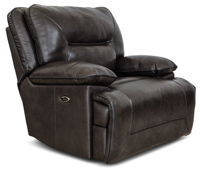 Beau Genuine Leather Power Reclining Chair – Grey|Fauteuil à inclinaison électrique Beau en cuir véritable - gris|BEAUGYPC