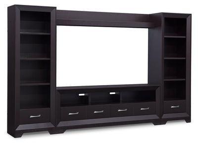 "Sofia 4-Piece Entertainment Centre with 72"" TV Opening - Contemporary style Wall Unit in Espresso"