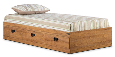 Driftwood Twin Mates Platform Bed - Rustic style Bed in Light Wood Engineered Wood and Laminate Veneers