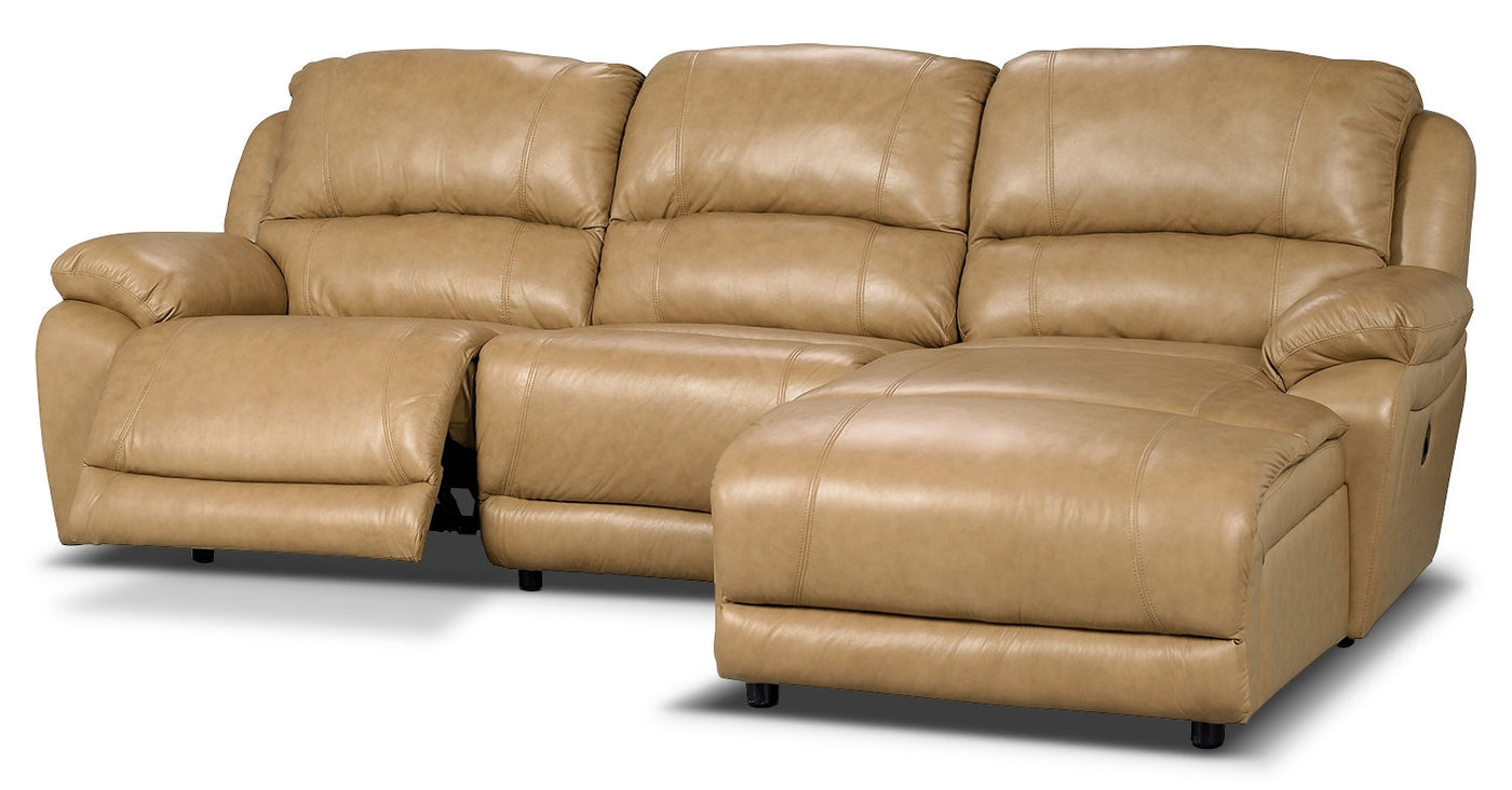 Marco Genuine Leather 3-Piece Sectional with Right-Facing Inclining Chaise–  Toffee