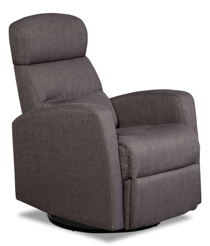 Penny Linen-Look Fabric Swivel Rocker Reclining Chair – Grey|Fauteuil berçant inclinable et pivotant Penny en tissu d'apparence lin - gris