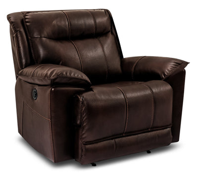 Matt Leather-Look Fabric Power Reclining Chair – Walnut|Fauteuil à inclinaison électrique Matt en tissu apparence cuir - noyer|MATTWAPC