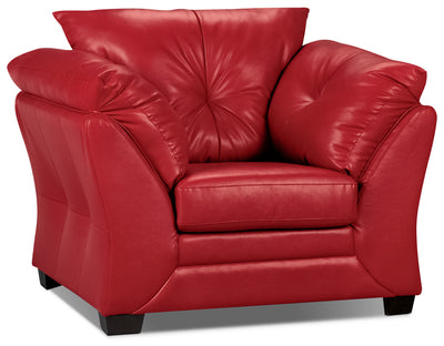 Max Faux Leather Chair - Red - Contemporary style Chair in Red
