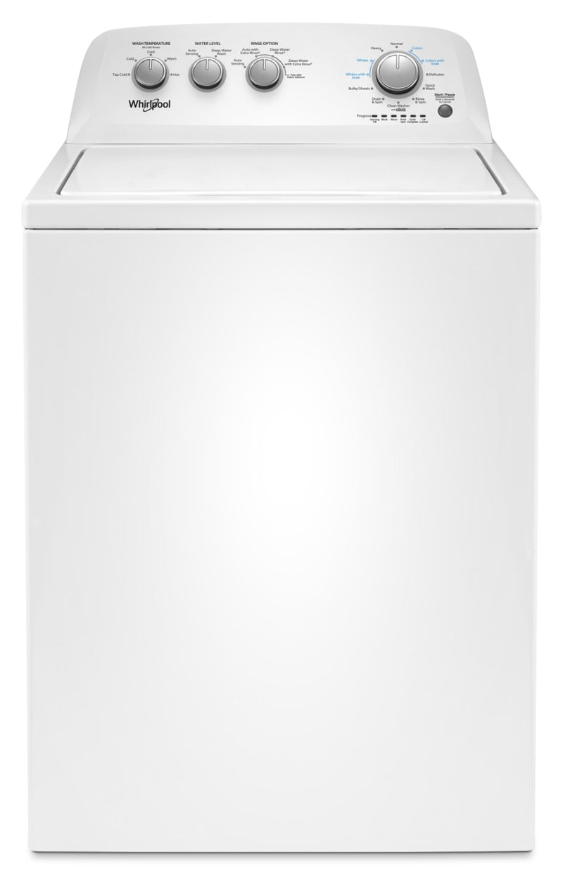 Whirlpool 4.4 Cu. Ft. I.E.C. Top-Load Washer with Soaking Cycles – WTW4855HW|Laveuse Whirlpool à chargement par le haut de 4,4 pi3 avec cycles de trempage – WTW4855HW