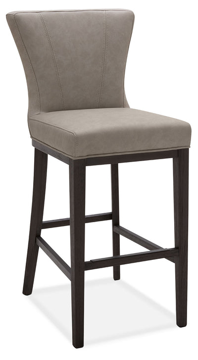 Quinn Bar Stool – Taupe - Contemporary style Bar Stool in Taupe Rubberwood and Bonded Leather