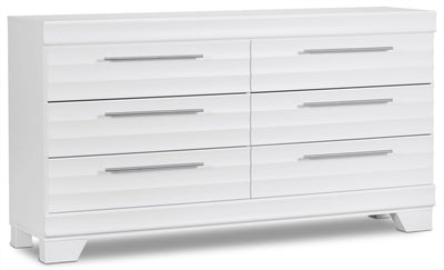 Olivia Dresser - White - Modern style Dresser in White Engineered Wood and Laminate Veneers
