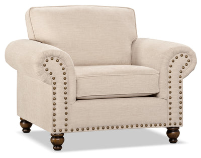 Wynn Chenille Chair – Linen - Traditional style Chair in Linen