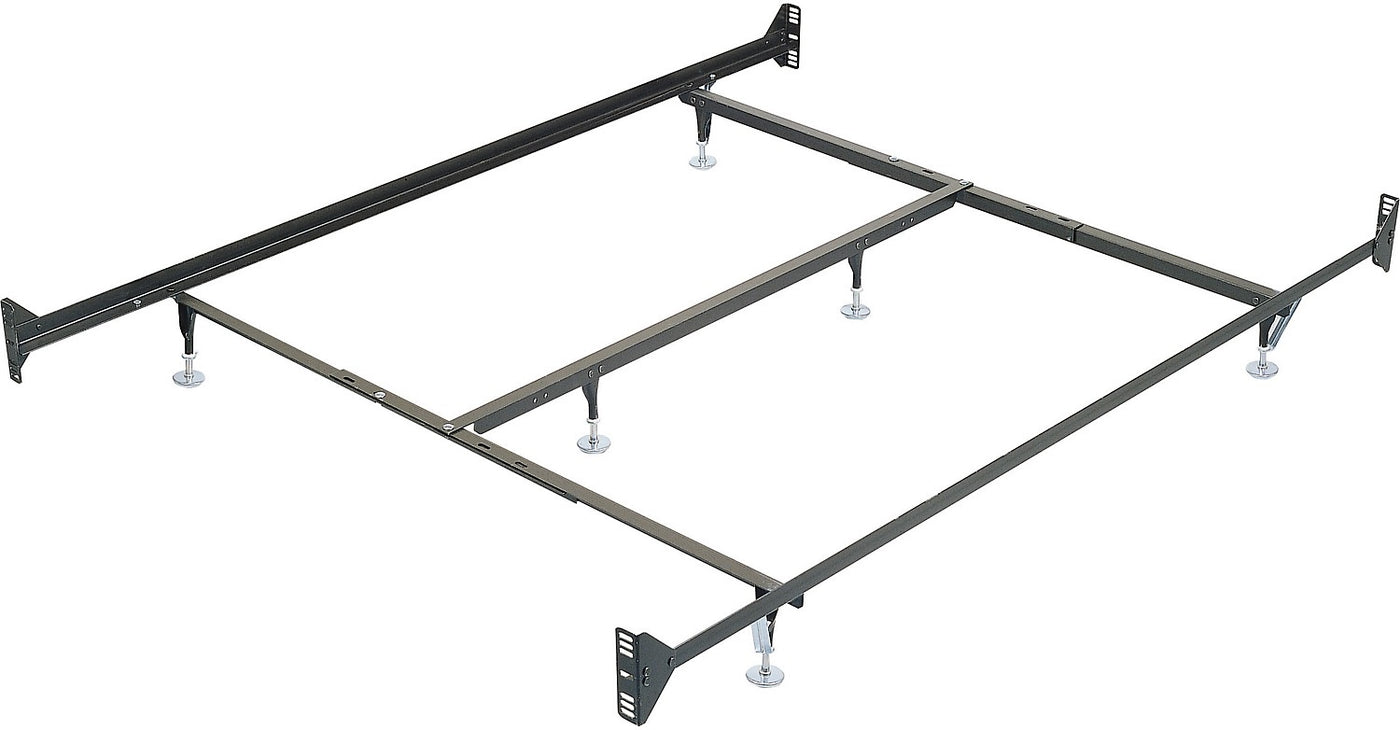 Picture of: Queen Metal Glide Bed Frame With Headboard Footboard Attachment The Brick