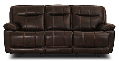 Matt Leather-Look Fabric Reclining Sofa – Walnut - Contemporary style Sofa in Walnut