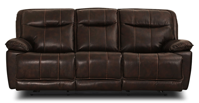 Matt Leather-Look Fabric Reclining Sofa – Walnut|Sofa inclinable Matt en tissu apparence cuir - noyer