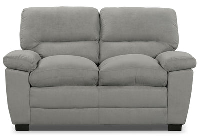 Peyton Microsuede Loveseat - Grey - Contemporary style Loveseat in Grey