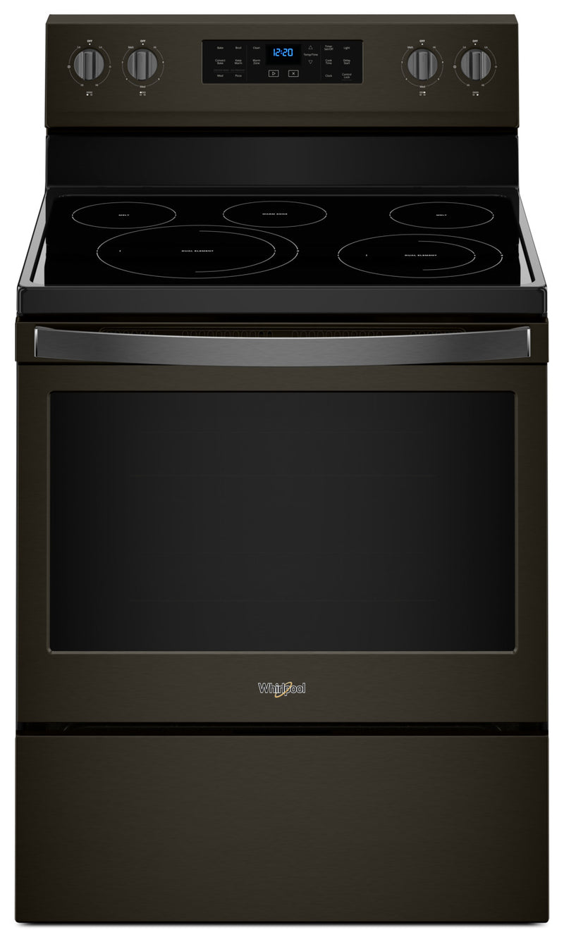 Whirlpool® 5.3 Cu. Ft. Freestanding Electric Range with Fan Convection Cooking - Electric Range in Black Stainless Steel
