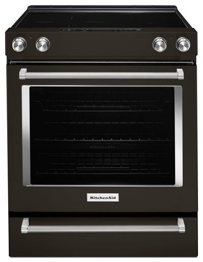 KitchenAid 6.4 Cu. Ft. Slide-In Electric Convection Range – YKSEG700EBS - Electric Range in Black Stainless Steel