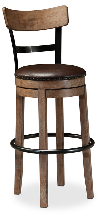 "Pinnadel 30"" Bar Stool - Rustic style Bar Stool in Light Brown Wood and Faux Leather"