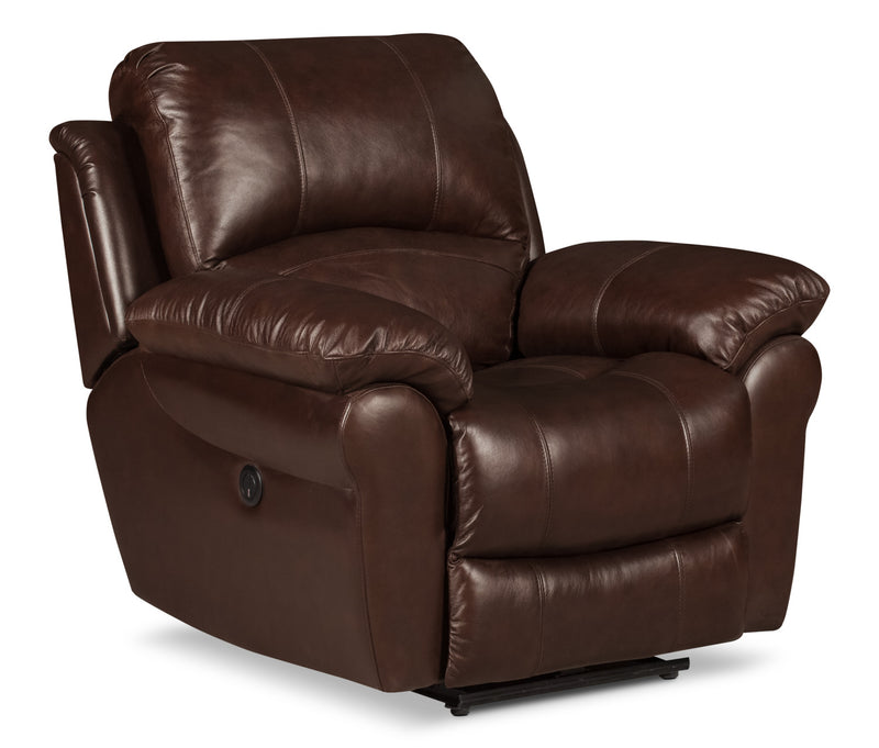 Kobe Genuine Leather Power Reclining Chair – Brown|Fauteuil à inclinaison électrique Kobe en cuir véritable - brun