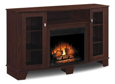 "Della 59"" TV Stand with Log Firebox - Modern style TV Stand with Fireplace in Dark Brown"