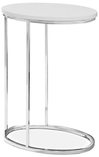 Acklie Accent Table – Glossy White - Modern style End Table in White Metal